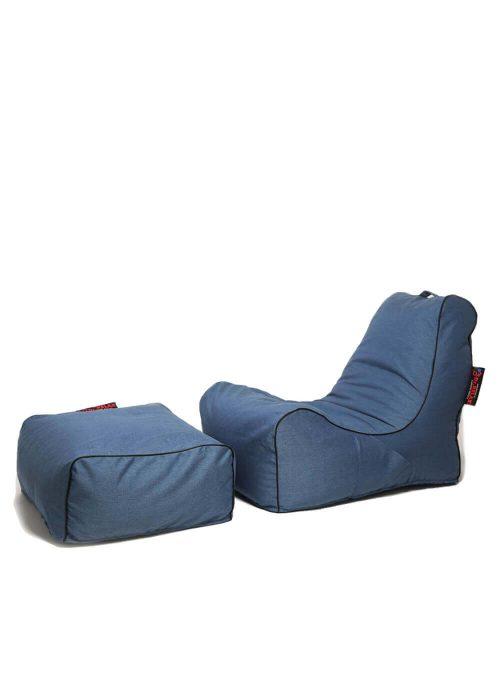 Dr.Relax Sofa +Puff Babzsákfotel - Kék
