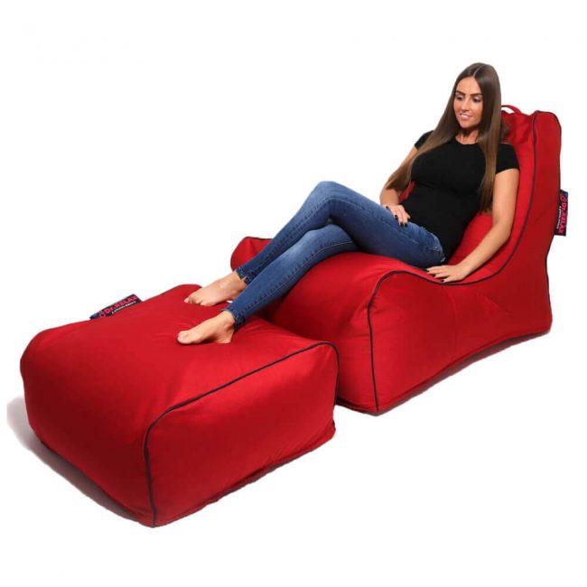 Dr.Relax Sofa +Puff Babzsákfotel - piros