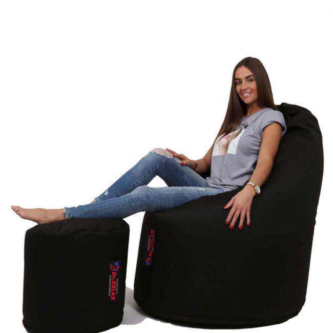 Dr.Relax Comfort+Puff babzsákfotel Bútorszövet - Fekete
