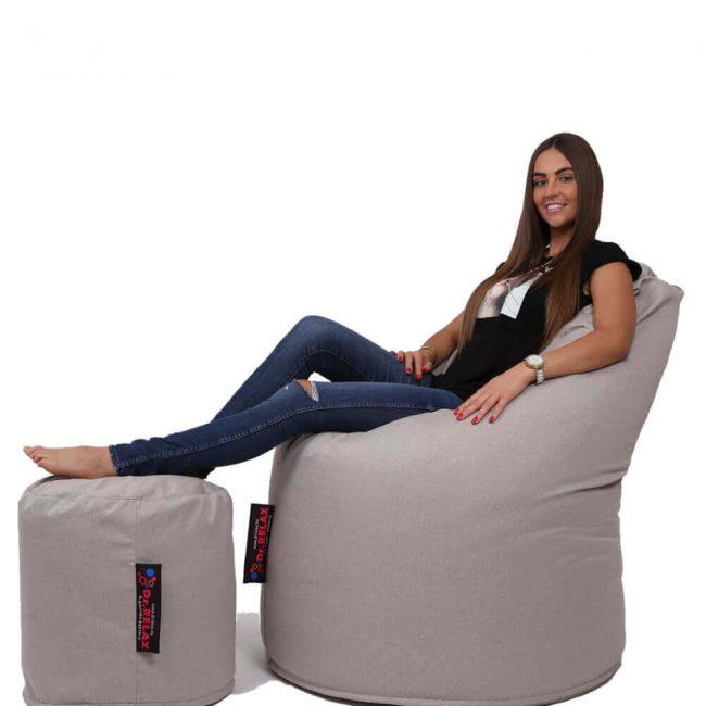 Dr.Relax Comfort+Puff babzsákfotel Bútorszövet - Homok