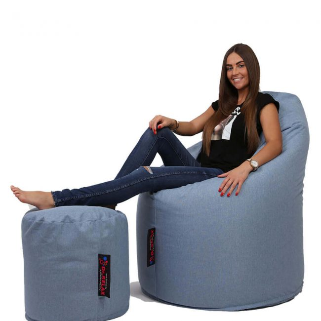 Dr.Relax Comfort+Puff babzsákfotel Bútorszövet - Kék