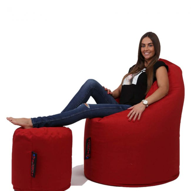 Dr.Relax Comfort+Puff babzsákfotel Bútorszövet - Piros