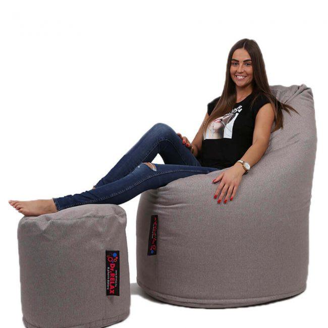 Dr.Relax Comfort+Puff babzsákfotel Bútorszövet - Szürke