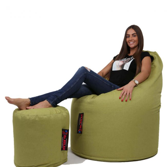 Dr.Relax Comfort+Puff babzsákfotel Bútorszövet - Zöld