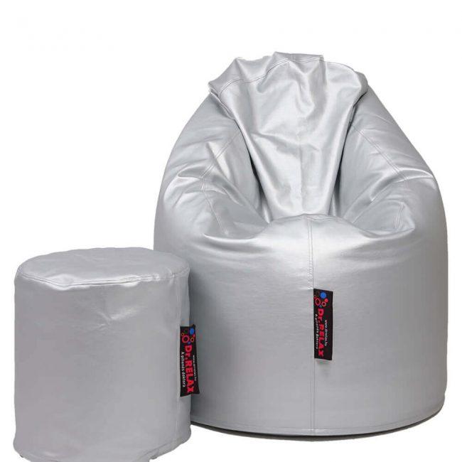 Dr.Relax Comfort+Puff babzsákfotel textilbőr - Ezüst