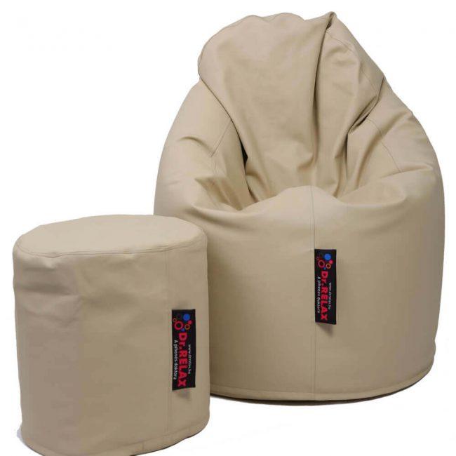 Dr.Relax Comfort+Puff babzsákfotel textilbőr - bézs