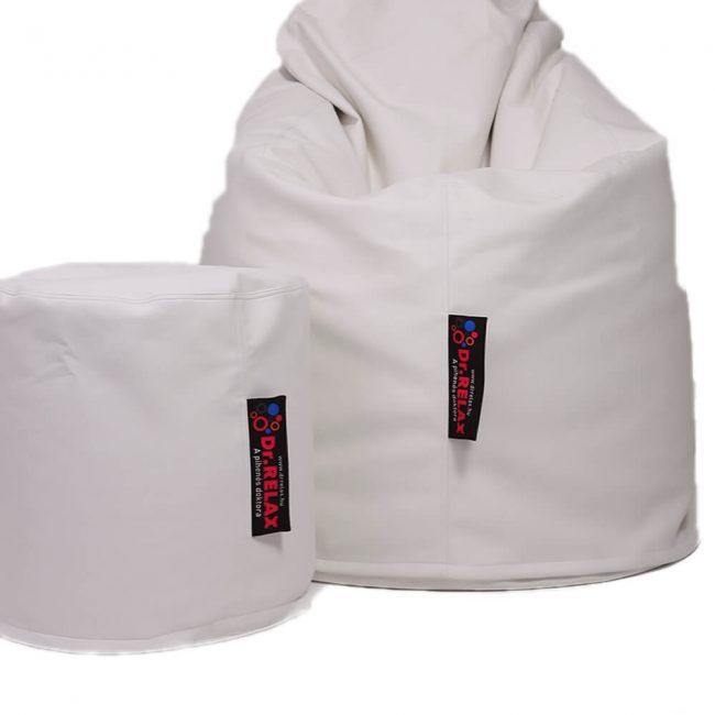 Dr.Relax Comfort+Puff babzsákfotel textilbőr - fehér