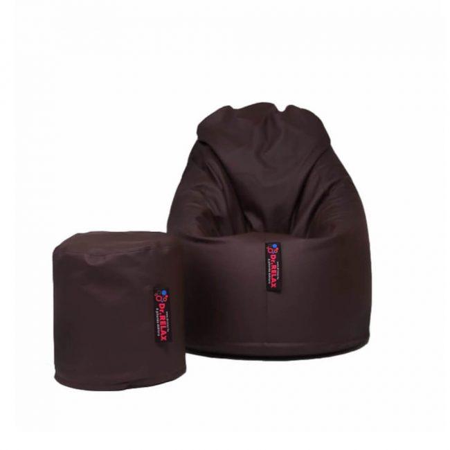 Dr.Relax Comfort + Puff babzsákfotel textilbőr - sötétbarna