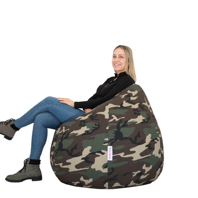 Basic babzsákfotel bútorszövet military design